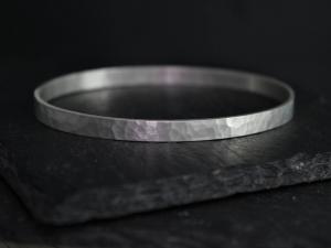 Sterling Silver Hammered Bangle Bracelet, 5mm Wide Silver Cuff, Oval Shape Bangle Bracelet, Stacking Bangle