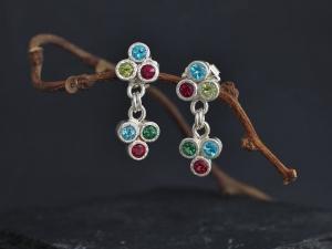 Multi Stone Trio Dangle Earrings, Sterling Silver Three Stone Studs, Triangle Stud Earrings, Party Earrings, Ready to Ship Earrings