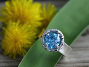 Sterling Silver Swiss Blue Topaz Ring,  Organic Ring, Stackable Ring, Inspired by Nature, Bird Nest Ring,