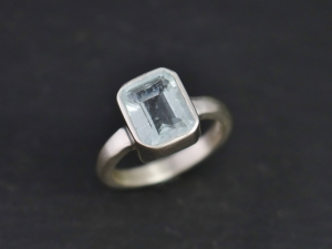 Aquamarine Ring, Bezel Set Sterling Silver, Emerald Cut, March Birthstone, Blue, Engagement, Ready to Ship Size 7