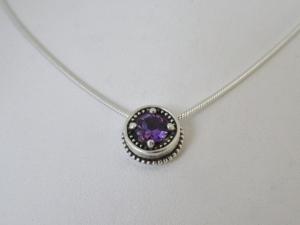 Silver Amethyst Pendant sterling silver Vintage Inspired