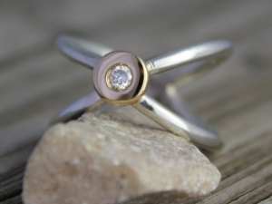 Sterling Silver 14k Yellow Gold Criss Cross Ring - X Ring -Diamond Gold Pebble Ring - Ready to Ship 7