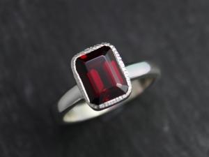 Garnet Ring, 9x7 Textured Bezel Set Garnet Ring, January Birthstone Ring, Garnet Solitaire Ring, Eco Silver, Made to order