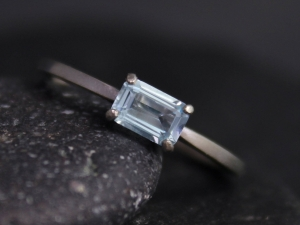 Emerald Cut Aquamarine Ring, 14k White Gold Prong Set, Birthstone Ring, Aquamarine Solitaire Ring, Recycled Gold, Ready to Ship Size 6.5