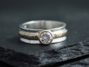 Salt and Pepper Diamond Ring, 14k Yellow and Sterling Silver, One of a Kind, Mixed Metals, Organic, Concave, Ready to Ship Size 6