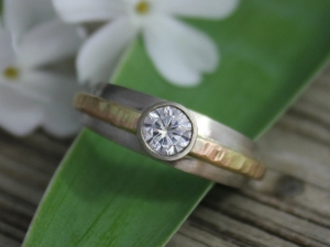 Moissanite Engagement Ring, 14k White and Yellow Gold, 5mm Round Moissanite, Hammer Textured Ring, Conflict Free, Ready to Ship Gold Ring