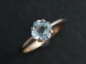 Asscher Cut Aquamarine Rose Gold Ring, 6mm Asscher Cut Aquamarine, 14k Rose Gold, One of a Kind, Prong Ring, March, Ready to Ship Size 6.5