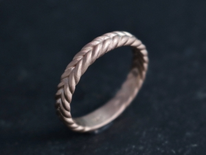 14k Rose Gold Braided Band, 3.5mm Wide Handmade Solid Gold Band, Braided Ring, Stacking Ring, Recycled Gold, Disc Ring, Made to order