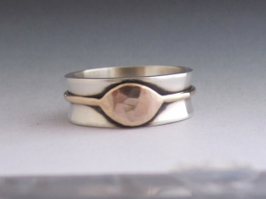 Sterling Silver solid 14kt gold ring vision ring 8mm