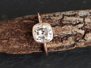 Mine cut Moissanite 7mm  cushion ring 14k Rose Gold Solitaire engagement ring  statement ring vintage mine cut Diamond alternative, unique