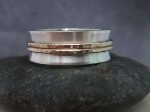 Sterling Silver and 14k Yellow 8mm Gold Band, Concave Silver Band, Hammered Gold Rings, Wedding Band, Stacking Ring, Ready to Ship Size 7.5