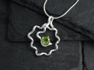 Peridot Rose Pendant, Gaia pendant Sterling Silver Flower Pendant, Free Form Flower Pendant, August Birthstone, Ready to Ship Neckwear