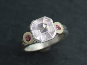 Asscher Cut Rose Quartz Pink Sapphire Ring, 14k Yellow Gold and Sterling Silver Ring, Alternative Engagement Ring,