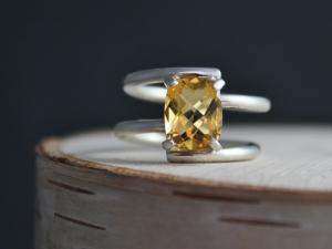 Citrine Statement Ring, Checkerboard Radiant Cut Gemstone, 10 X 8mm, Big Gemstone Ring, November Birthstone, Ready to Ship Silver Ring