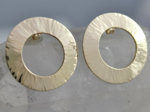 14k Yellow Gold Earrings // Hammered Earrings // Circle Earrings // Recycled Materials // Eco Friendly
