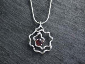 Garnet Rose Pendant, Sterling Silver Rose Pendant, Free Form Spiral Pendant, January Birthstone, Made to Order
