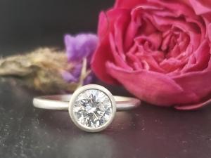 Diamond ring, .94 carat, Natural Diamond ring, 14k white gold, Bezel ring,14k white gold solitaire ring, engagement 6mm diamond modern lux