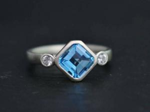 Asscher Cut Swiss blue Topaz Ring, 7mm Asscher Cut Asscher bezel ring asscher solitaire Sapphire accents silver silver asscher made to order