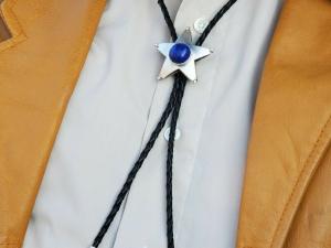 Sterling silver Lapis Lazuli cabochon Bolo tie Handmade bolo leather Texas star
